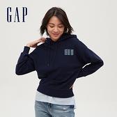 Gap女裝 Logo時尚印花寬鬆連帽休閒上衣 620498-海軍藍