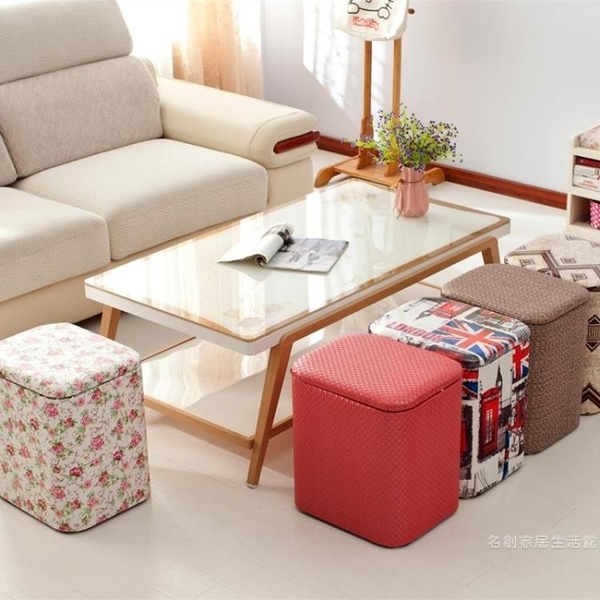 多功能收納凳子實木可坐成人時尚沙發儲物凳皮整理箱家用換鞋椅子【快速出貨】