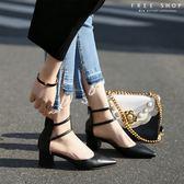 韓系氣質尖頭粗跟涼鞋百搭中空黑色高跟鞋尖頭粗跟鞋側鏤空羅馬粗跟鞋~QZZZ71011 ~