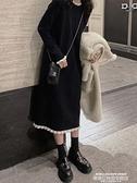 毛衣洋裝 赫本風小黑裙女秋冬新款法式溫柔風毛衣裙過膝內搭針織連身裙長款 新品