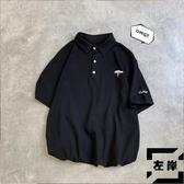 翻領短袖T恤男寬松五分袖polo衫打底衫【左岸男裝】