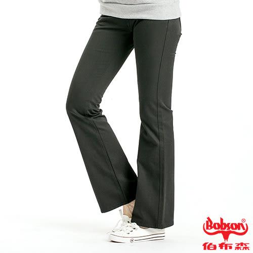 BOBSON 女款混紡毛料小喇叭褲(黑9072-88)