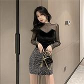 時尚打底衫洋氣上衣 網紗拼接金絲絨鏤空緊身長袖黑色t恤女裝  店慶降價