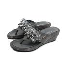 HUMAN PEACE 夾腳拖鞋 楔型鞋 水鑽 深灰色 女鞋 no002