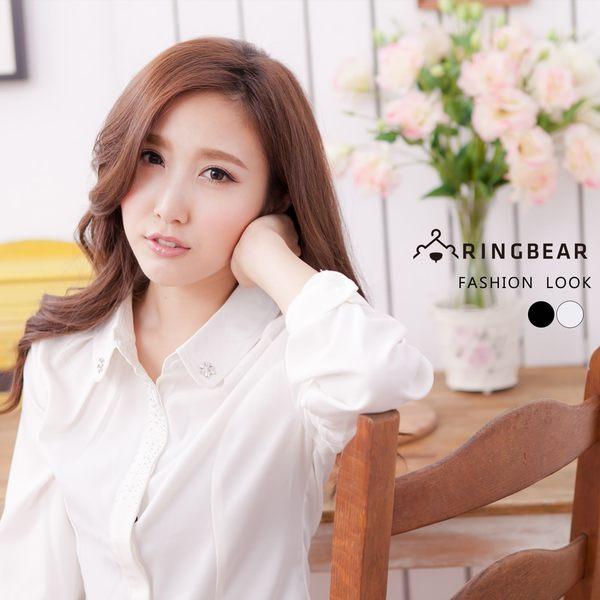 長袖襯衫--都會女孩知性美韓系水鑽素面壓摺長袖襯衫(白.黑S-5L)-I100眼圈熊中大尺碼