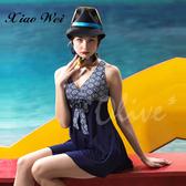 ☆小薇的店☆台灣製沙麗品牌新款【V型美胸設計】時尚流行連身裙泳裝特價990元NO.H19133A(2L-4L)