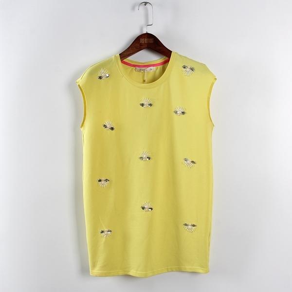 [超豐國際]鋇夏裝女裝黃色韓版印花學生OL風無袖T恤 散89(1入)