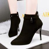 細跟靴 踝靴女 性感尖頭細跟短靴女鞋簡約絨面踝靴子歐美新款馬丁靴高跟靴子《小師妹》sm3127