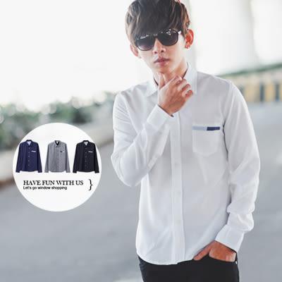 襯衫 簡約造型口袋素面長袖襯衫【N9766J】