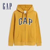 Gap男裝 Logo基本款休閒連帽外套 618866-金黃色