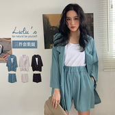 LULUS-Y三件式-雙排釦西裝外套+背心+短褲-3色  【01190240】
