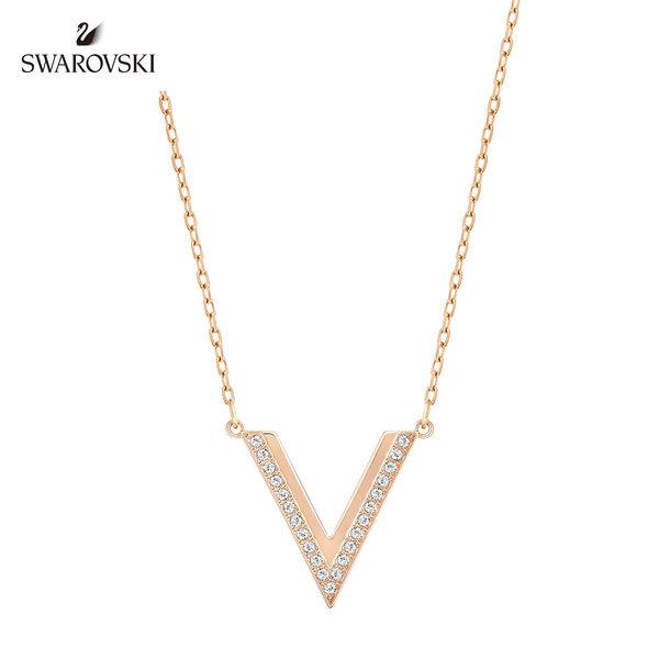施華洛世奇 玫瑰金三角形水晶項鍊