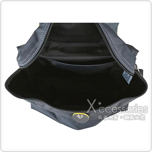 LONGCHAMP COLLECTION經典刺繡LOGO尼龍摺疊拉鍊後背包(槍銅x黃)