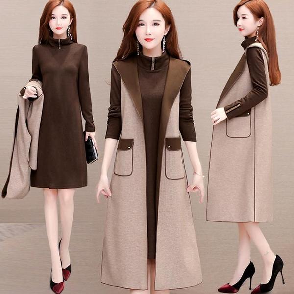 兩件式洋裝 秋季套裝女2021年新款洋氣減齡遮肚子顯瘦長袖闊太太兩件套連身裙 艾維朵