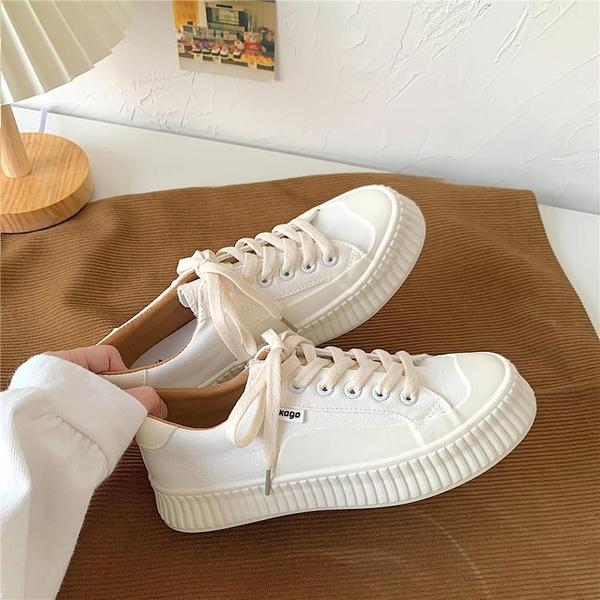 帆布鞋 餅干鞋厚底增高帆布鞋女2021年春款ins街拍潮鞋韓版百搭小白鞋