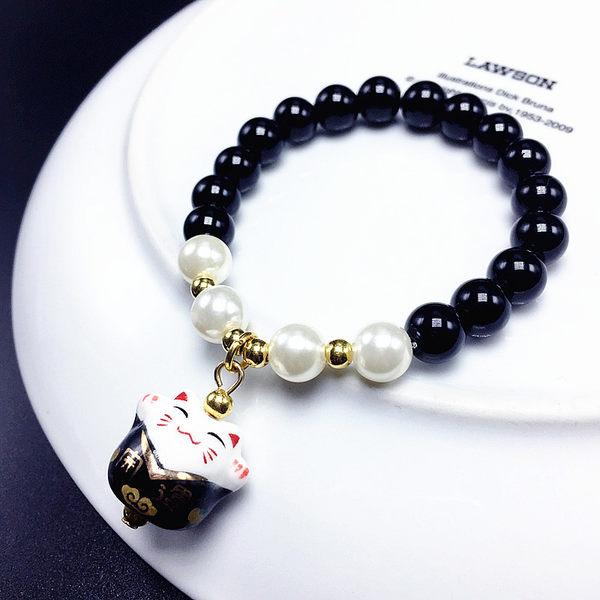 Star 日韓系列- 天然黑瑪瑙陶瓷招財貓手鏈 - C105