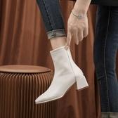 短靴彈力瘦瘦靴襪靴短靴女靴中跟粗跟方頭馬丁靴復古百搭2020春秋新款 雙11 伊蘿