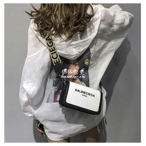 斜背包  小包包仙女原宿chic帆布小方包百搭寬帶斜背包蹦迪包 『伊莎公主』