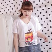 Poly Lulu 起司巧克力蘇打餅V領長版T恤-白【91010169】