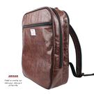 """咖啡-正規皮革後背包  (設置15""""筆電夾層)   AMINAH~【am-0292】"""
