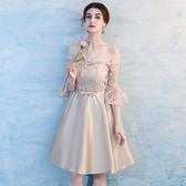 【優選】伴娘禮服灰色姐妹團伴娘服結婚宴會畢業禮服