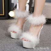新款16CM超高跟鞋氣質恨天高夜店防水台涼鞋15公分細跟顯瘦女 晴天時尚館