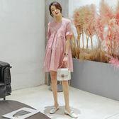 孕婦韓版懷孕期潮媽外出蕾絲短袖孕婦連身裙吾本良品
