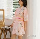 汗蒸服情侶女款全棉開衫和服可愛韓版性感桑拿服安然納米-【2021特惠】