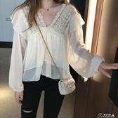 長袖襯衫-韓版秋季新款V領鏤空性感短款長袖雪紡衫荷葉邊 提拉米蘇