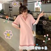 純棉孕婦連衣裙中長款T恤V領短袖夏裝寬松大碼孕婦裙【奇趣小屋】