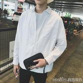 韓版百搭純色休閒長袖襯衫男女寬鬆bf風情侶上衣外套學生白襯衣潮 美芭