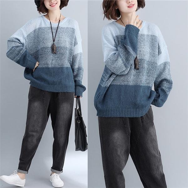 寬條紋馬海毛蝙蝠袖毛衣秋冬 微胖mm減齡長袖針織上衣減齡洋氣 萬聖節鉅惠