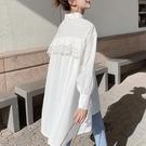 春裝新款蕾絲花邊拼接打底襯衫白色雪紡上衣服女學生中長款T恤裙 依凡卡時尚