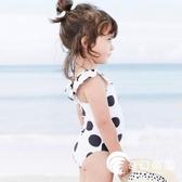韓國兒童泳衣女孩連體黑白波點可愛小公主女童游泳衣嬰兒寶寶泳裝-奇幻樂園