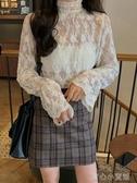 蕾絲雪紡蕾絲打底衫女秋冬洋氣小衫半高領繡花修身內搭百搭長袖上衣女育心小館