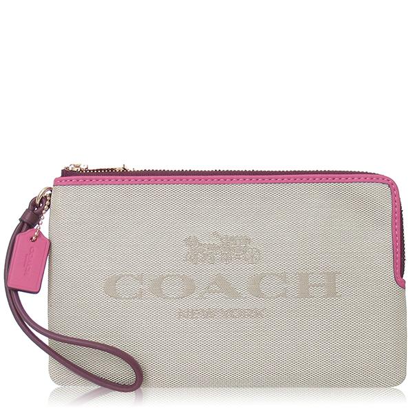COACH 撞色 帆布 / 大款 / 雙拉鏈手拿包_米色 C4126-SQ6 【亞新國際精品】