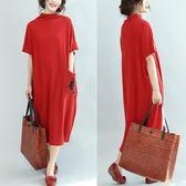 洋裝 加肥加大碼女裝秋季打底衫200斤寬鬆半高領口袋繡花蝙蝠袖洋裝 polygirl