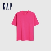 Gap男裝 棉質舒適厚磅純色圓領短袖T恤 590048-玫紅色