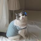 網紅寵物衣服貓咪狗狗衣服 ins風花朵領純棉打底衫 原創新款【小獅子】
