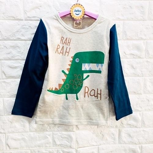 ☆棒棒糖童裝☆(E60005)秋冬男童可愛小恐龍拼袖上衣 5-15