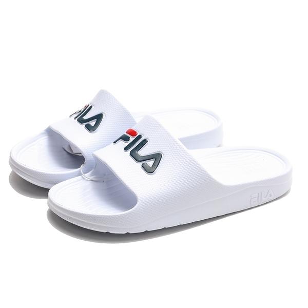 FILA (偏小建議大半號) 白 藍紅 LOGO 防水 拖鞋 (布魯克林) 4S355Q113