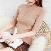 五分t恤 女套頭半高領上衣薄毛衣修身緊身 JD526 【3C環球數位館】