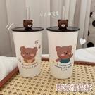 做你的小熊~帶蓋吸管情侶馬克杯 可愛創意牛奶水杯陶瓷杯子小禮物 小時光生活館