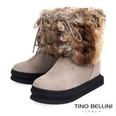 Tino Bellini 愛斯基摩混色兔毛厚底綁帶雪靴(淺駝)_CL2214 2015AW