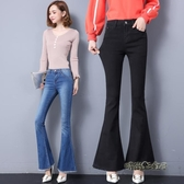 2020秋裝新款時尚毛邊大喇叭牛仔褲女修身顯瘦闊腿加長顯高喇叭褲「時尚彩虹屋」