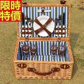 野餐籃 餐具組合-外出踏青四人份保溫保冷郊遊用品68e48【時尚巴黎】