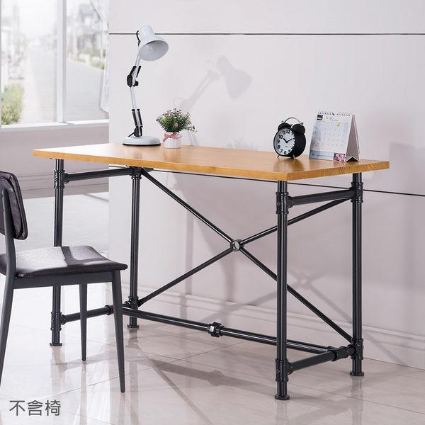 【森可家居】艾德4尺水管工業風全實木面書桌(不含椅) 8HY516-02 MIT 台灣製造