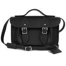 【The Leather Satchel Co.】11吋 英國手工牛皮劍橋包 手提包 肩背 側背包  新款磁釦設計(火炭黑)