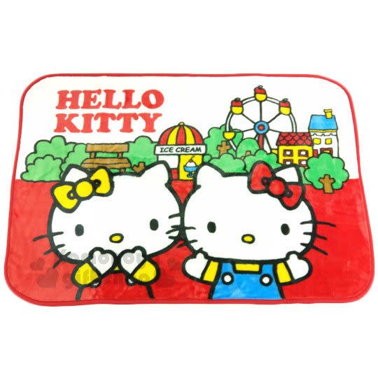 〔小禮堂〕Hello Kitty 圓角隨身披肩毯《紅白.遊樂園.Mimmy》毛毯.70x100cm 4901610-84855
