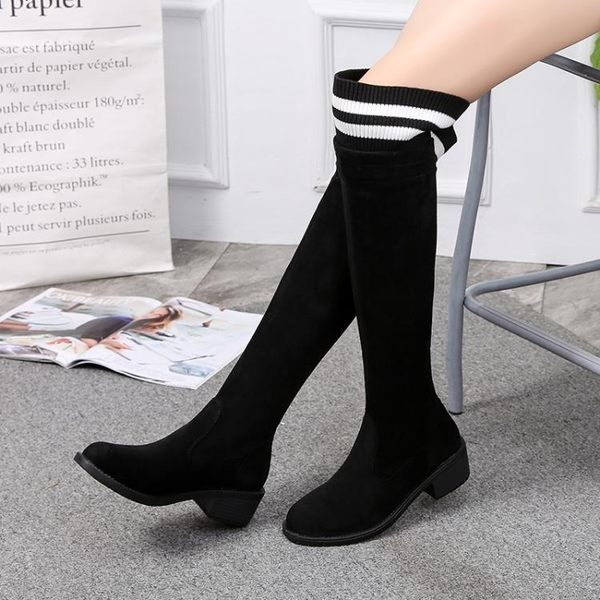 過漆靴 平低跟過膝長筒靴黑色條紋毛線針織襪子靴套筒彈力靴高筒女靴 88折下殺